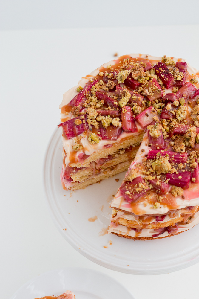 Rhubarb Pistachio And Salted Caramel Layer Cake The Brick Kitchen