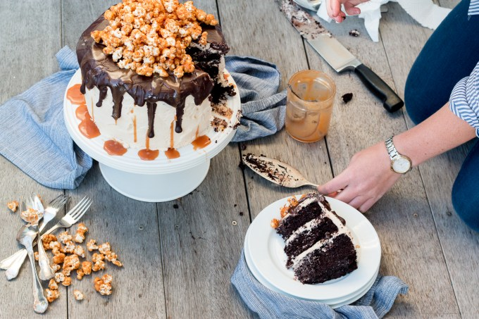 Triple-Layer Chocolate Cake with Salted Caramel Buttercream, Chocolate Ganache and Caramel Popcorn