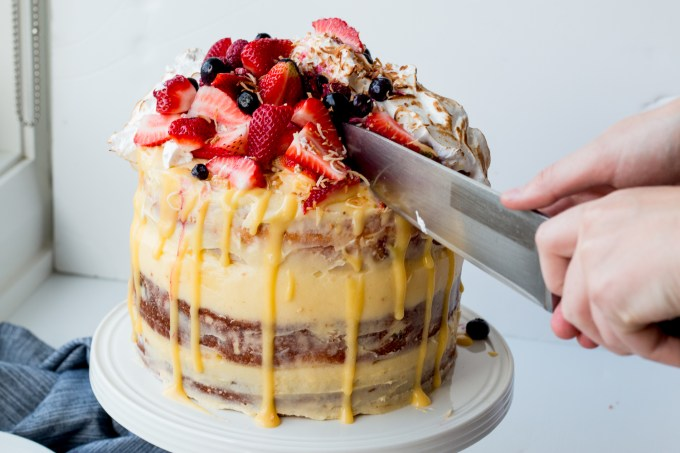 Lemon, Coconut and Berry Layer Cake with Lemon Curd and Torched Meringue-38