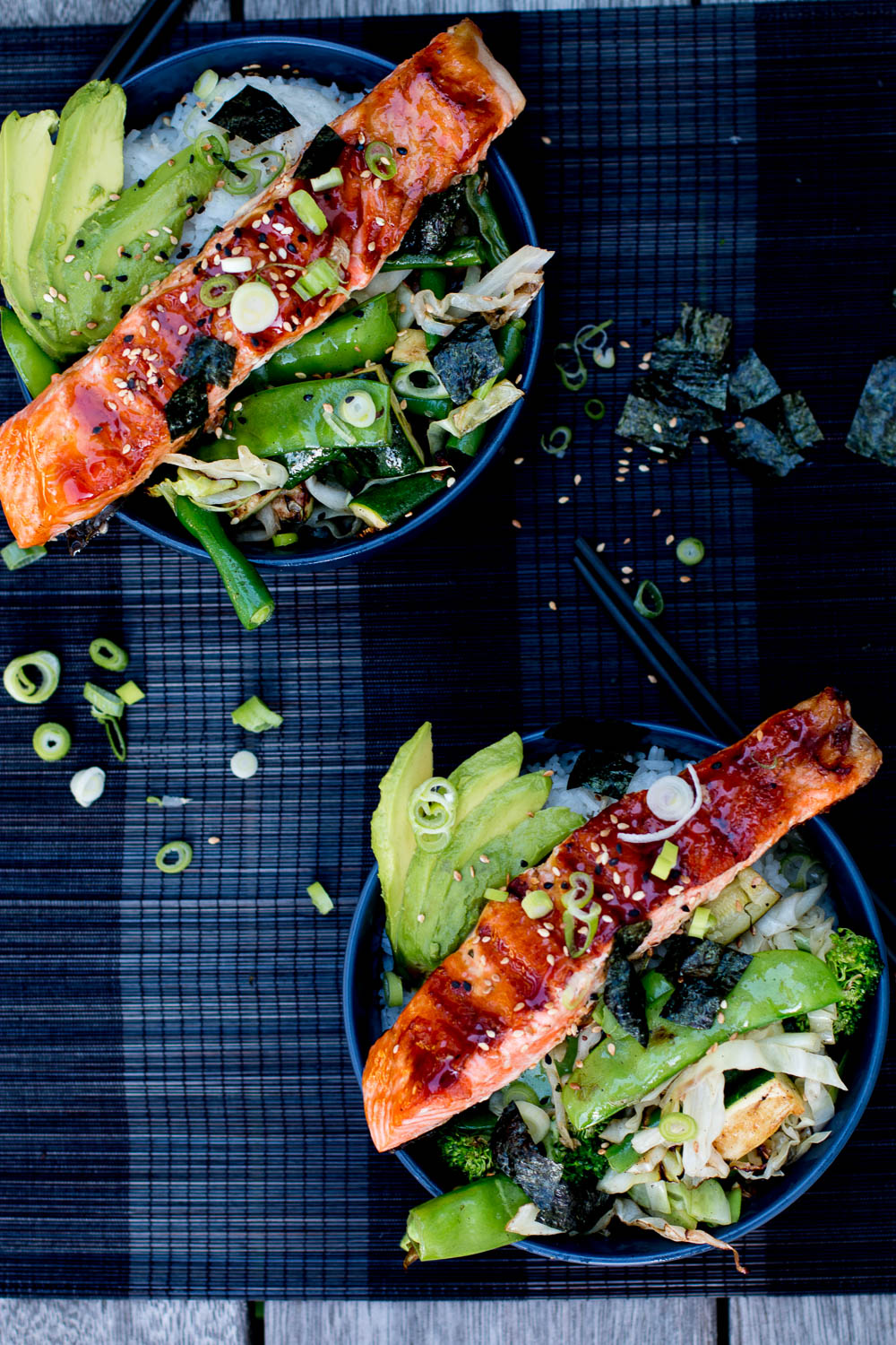 Teriyaki Salmon Bowls with Sesame Greens and Avocado | The