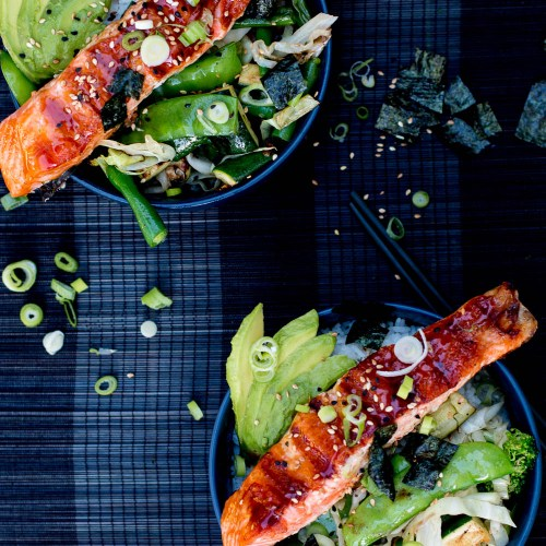 Teriyaki Salmon Bowls with Sesame Greens and Avocado