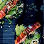 Teriyaki Salmon Bowls with Sesame Greens and Avocado