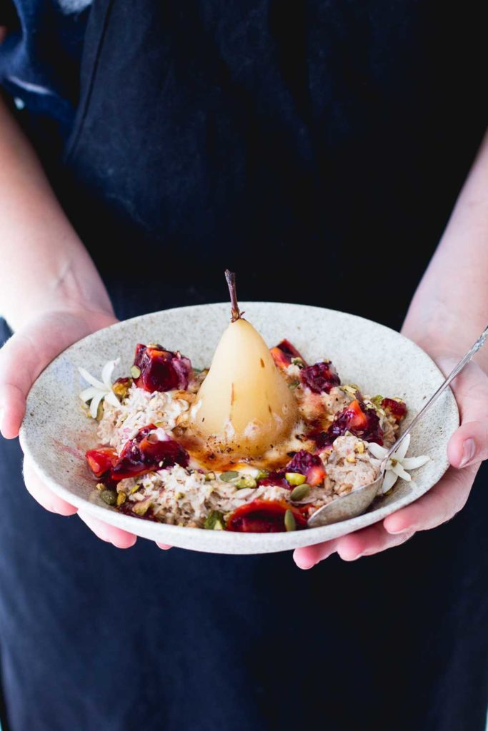 Brûlée bircher muesli with ginger poached pear