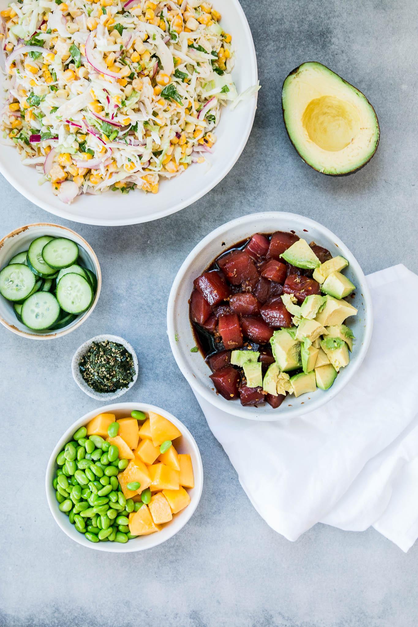 Ahi Tuna Poke Bowls with Grilled Corn Slaw & Mango
