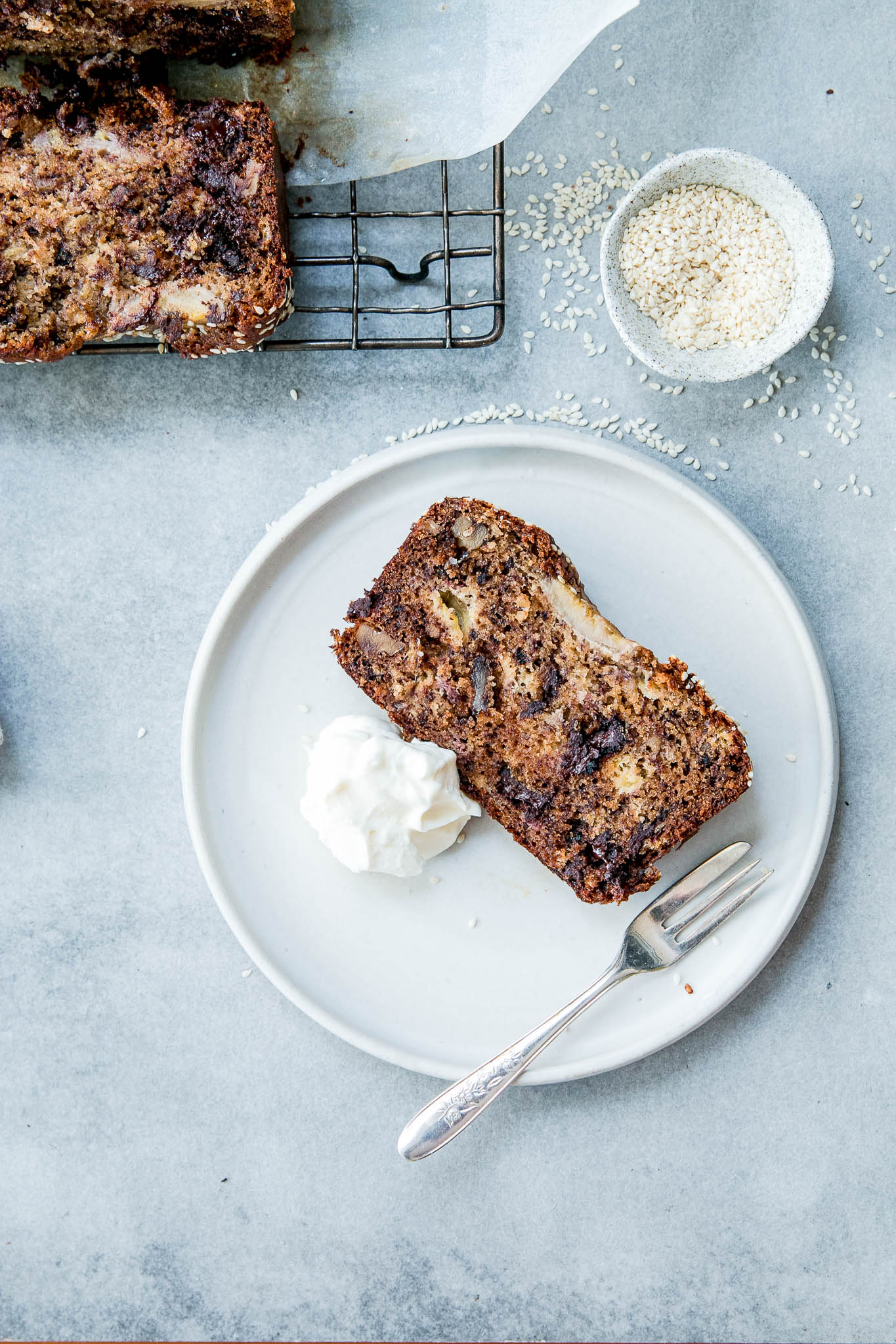 Tahini, Walnut & Dark Chocolate Banana Bread - The Brick Kitchen