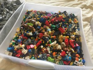 Sterilite drawer full of minifigures