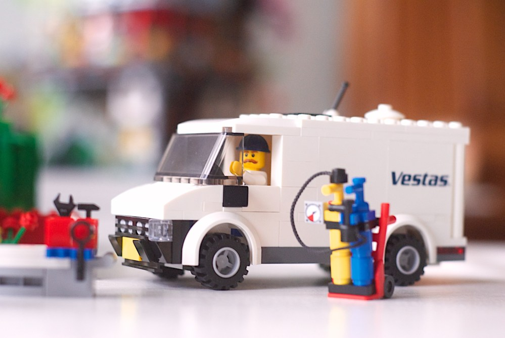 The Lego Vestas Truck with a brick built welder's tanks that fit neatly inside the back.
