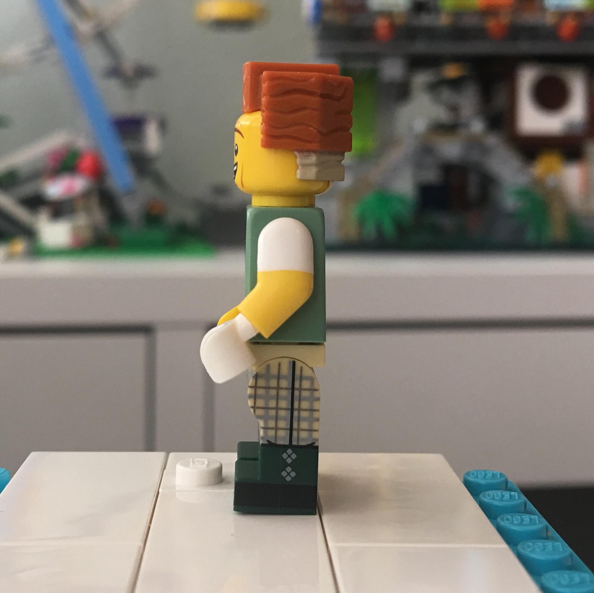 Unibrow President Business Man Boy Big Smile NEW Lego Police MALE MINIFIG HEAD