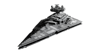 LEGO 75252 The Destroyer UCS Imperial Star Destroyer angled view from front.