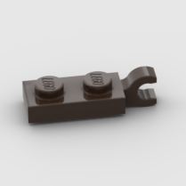 LEGO Part Dark Brown Plate, Modified 1 x 2 with Clip on End (Horizontal Grip)
