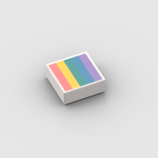LEGO Part White Tile 1 x 1 with Groove with Pastel Rainbow Pattern