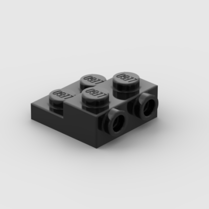 LEGO Part Black Plate, Modified 2 x 2 x 2:3 with 2 Studs on Side