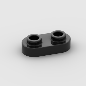 LEGO Part black Plate, Round 1 x 2 with Two Open Studs
