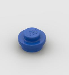 LEGO Part Blue Plate, Round 1x1