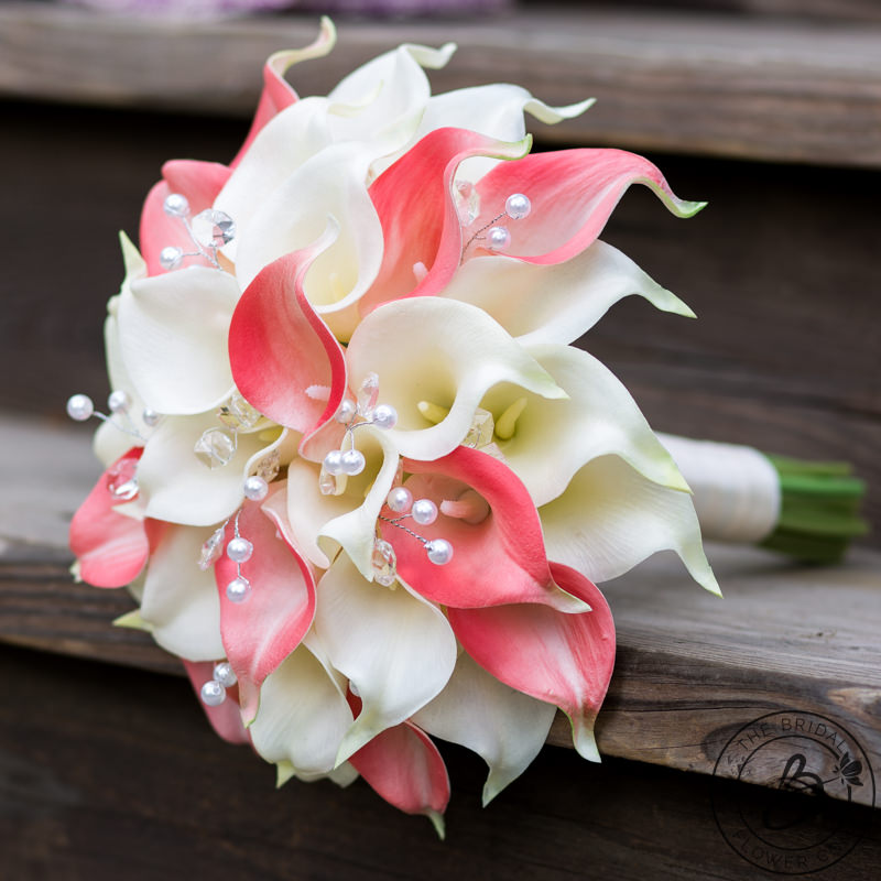 Coral And Ivory Calla Lily Bouquet With Crystals And