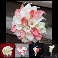 Calla lily wedding bouquet set with crystals  build your ...