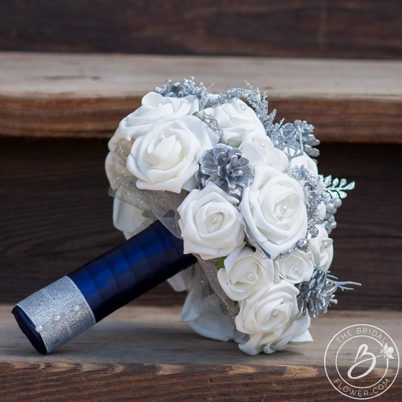 White And Silver Winter Wonderland Wedding Bouquet The