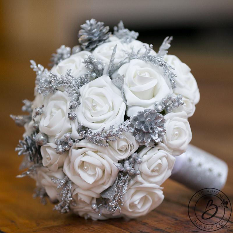 Winter Wonderland Bouquet With Silver Glitter Accents