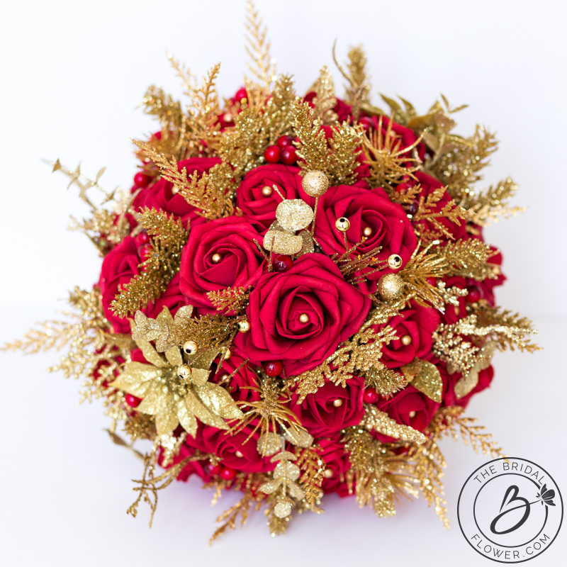 Red and gold glitter winter wedding bouquet  The Bridal Flower  silk and real touch wedding