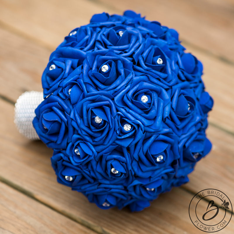 Simple Wedding Bouquet With Royal Blue Roses And Sparkly
