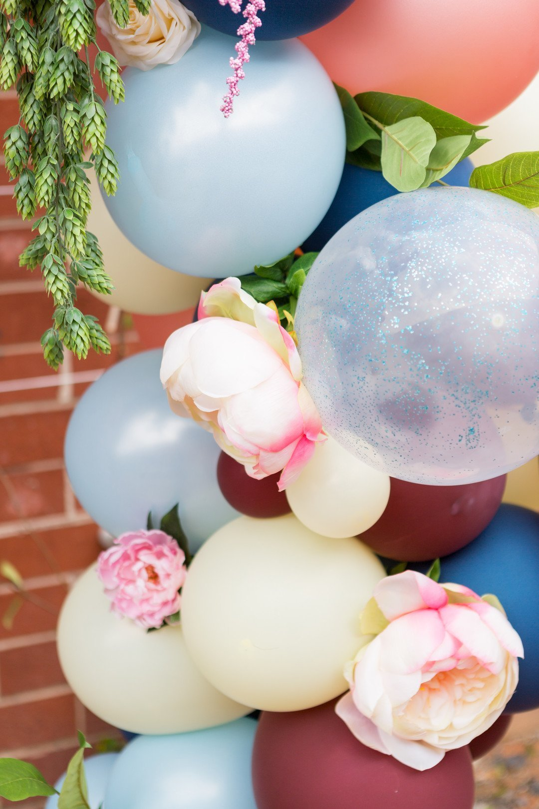Up close look at DIY wedding ceremony balloon arch