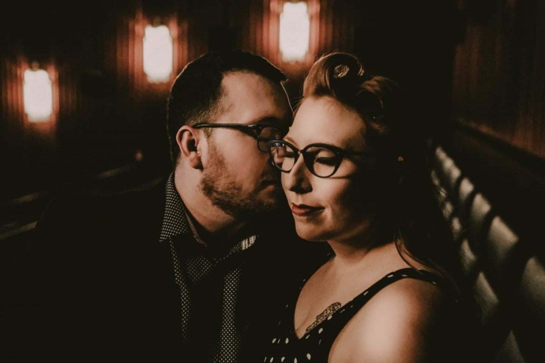 Chris & Mekensey's Geeky Movie Theater Engagement Photo Session - SB Vision Weddings - www.thebridechilla.com