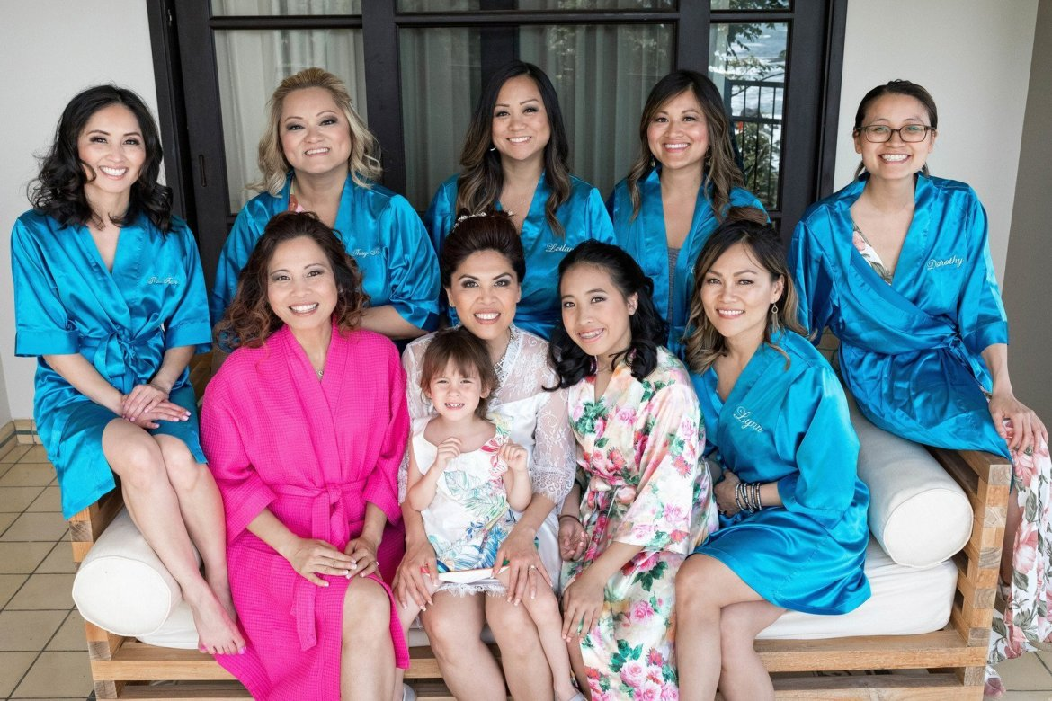 bridesmaids in custom robes