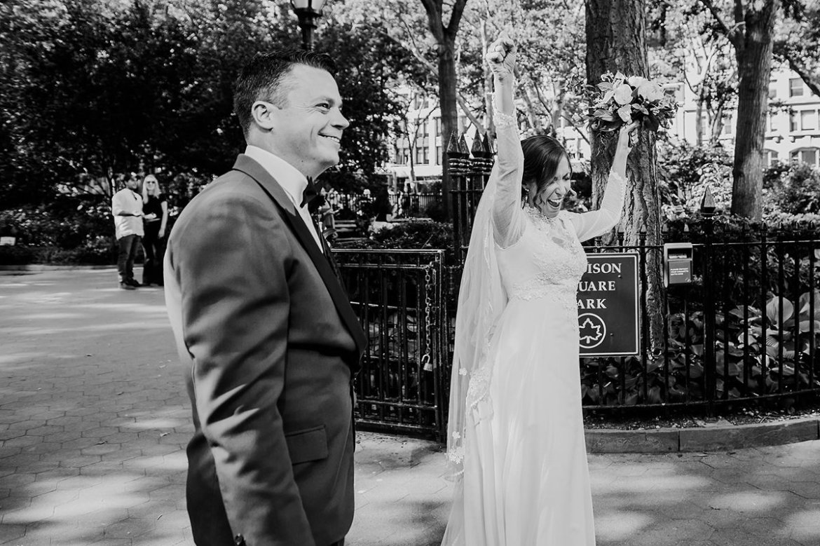Monica + Manolo share their pop up NYC Wedding in Madison Square Park and cocktail party reception at Midtown Loft. Photography by Maggie Marguerite Photo. - The Bridechilla Wedding Planning Blog www.thebridechilla.com