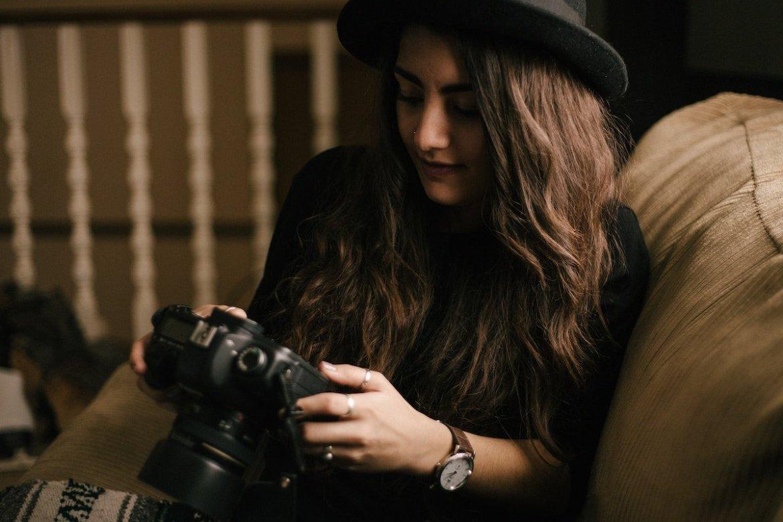 Photographer looking at camera