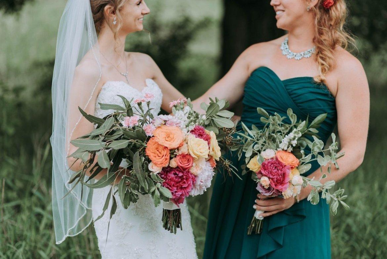 Bride with a bridesmaid