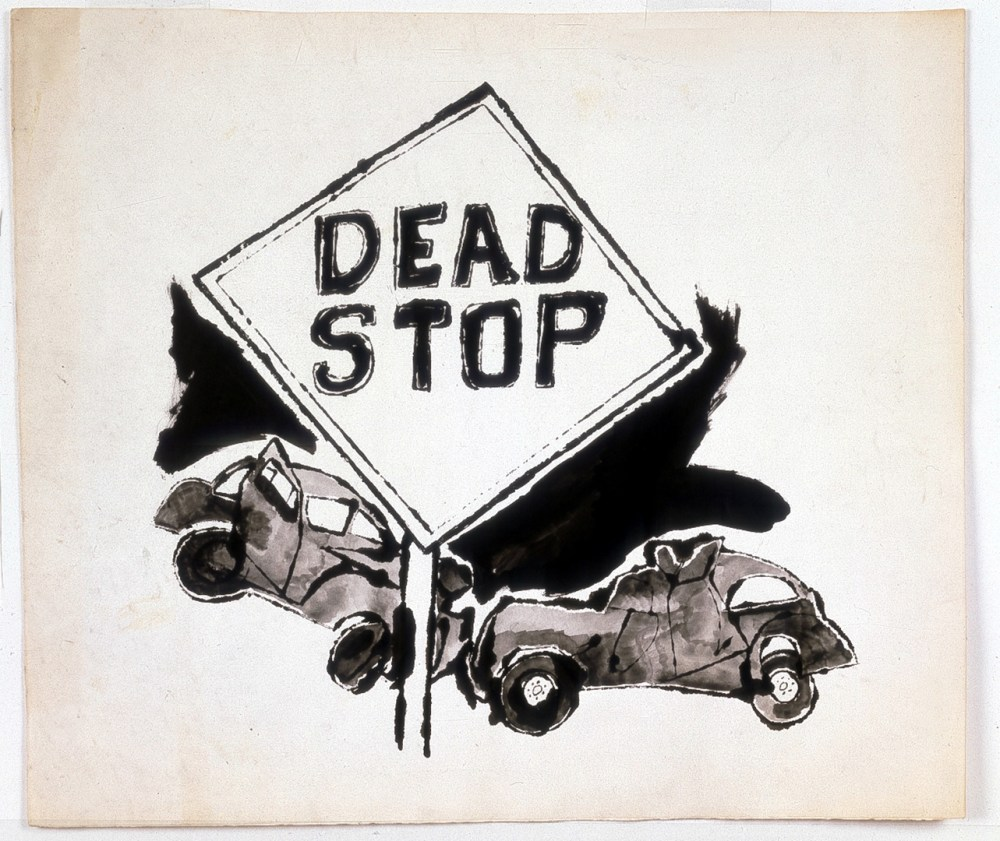 medium resolution of andy warhol dead stop 1958 ink on paper