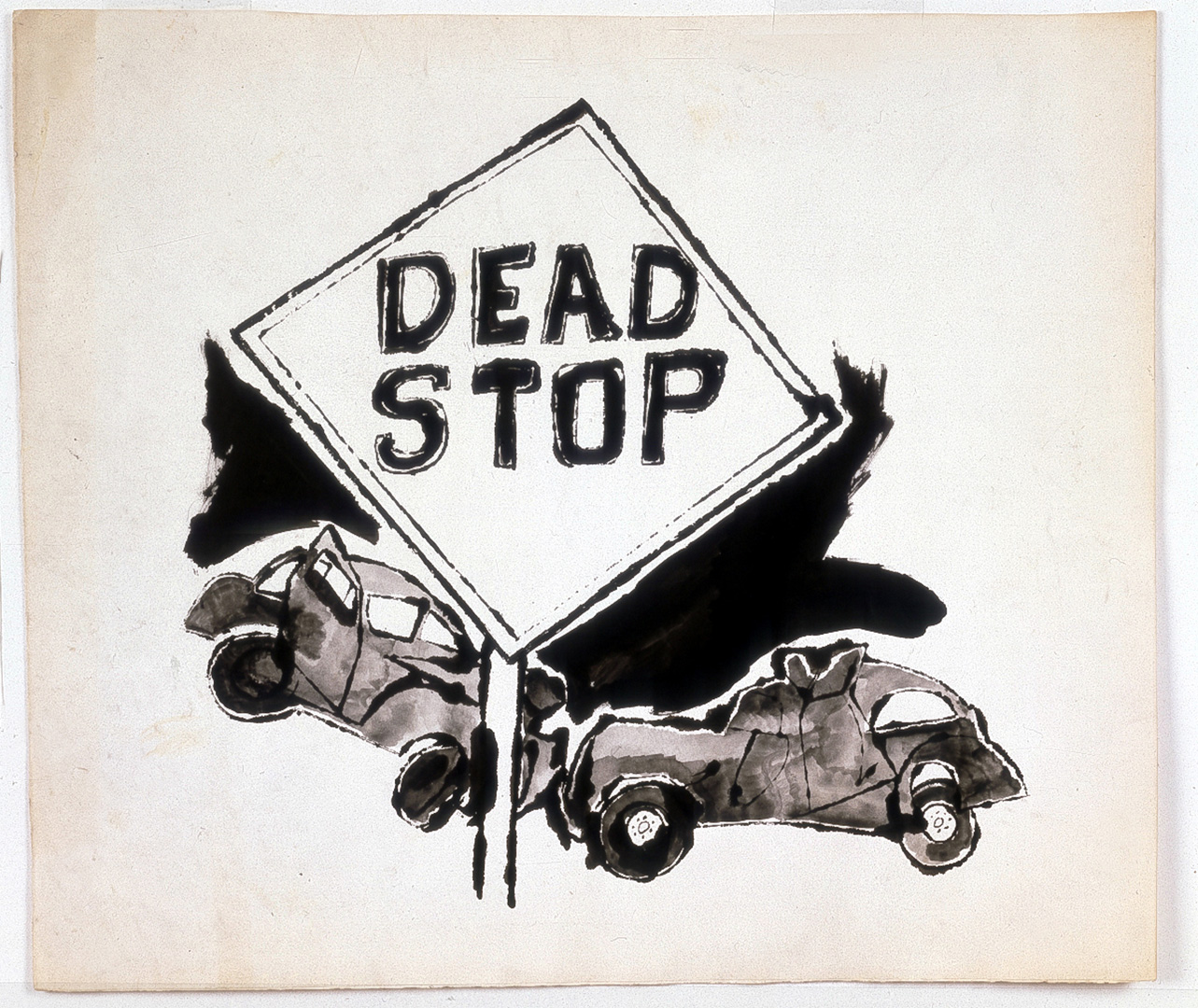 hight resolution of andy warhol dead stop 1958 ink on paper