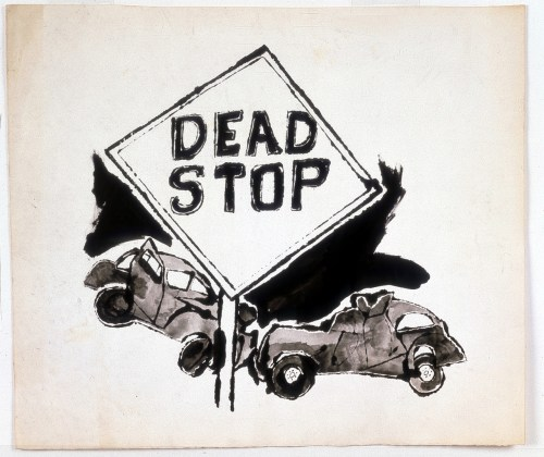small resolution of andy warhol dead stop 1958 ink on paper