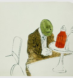 andy warhol male seated at automat counter 1958 ink and watercolor on paper [ 1364 x 1080 Pixel ]