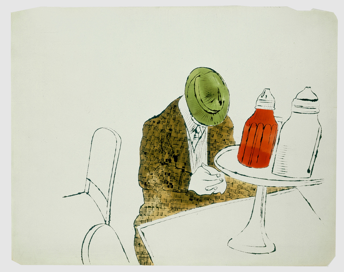 hight resolution of andy warhol male seated at automat counter 1958 ink and watercolor on paper