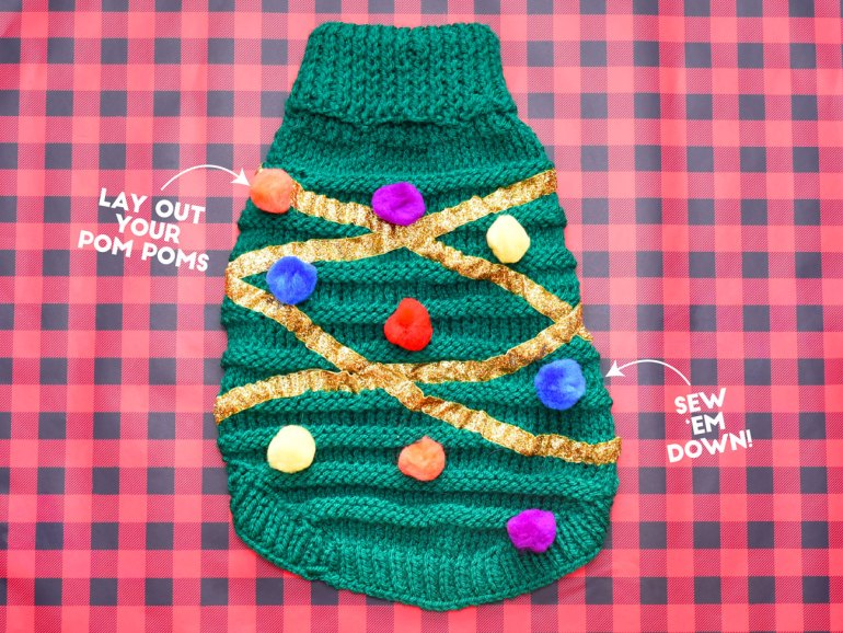 DIY Christmas Tree Sweater For Your Dog