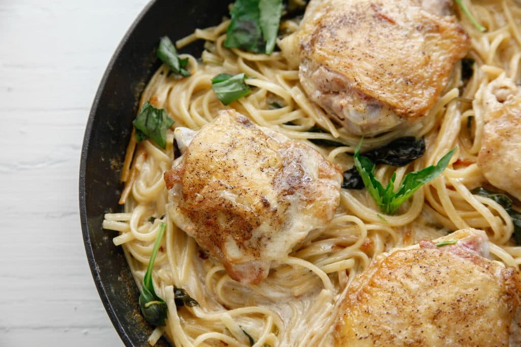 One Pan Creamy Basil Chicken Pasta
