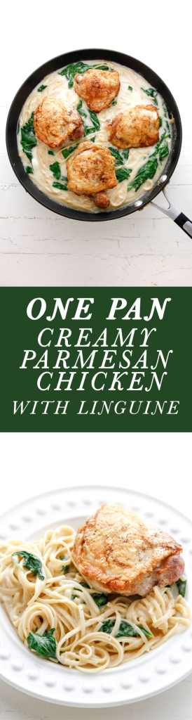 One Pan Creamy Parmesan Chicken and Linguine