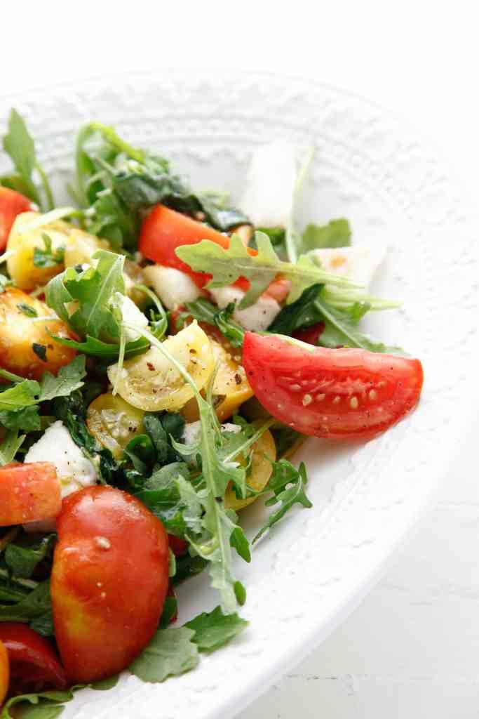 Heirloom Tomato Arugula Salad with Fresh Mozzarella_