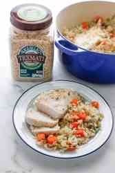 One Pot Garlic and Herb Chicken and Rice was made with RiceSelect