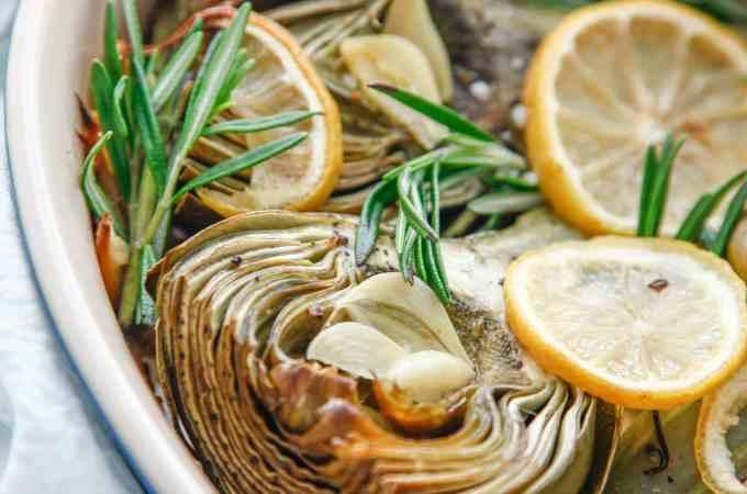 Garlic Rosemary Baked Artichokes