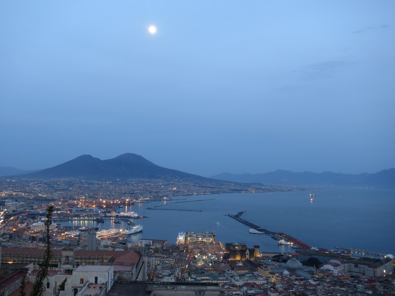 View from Castel Sant'Elmo - Mount Vesuvius looming large over Naples.