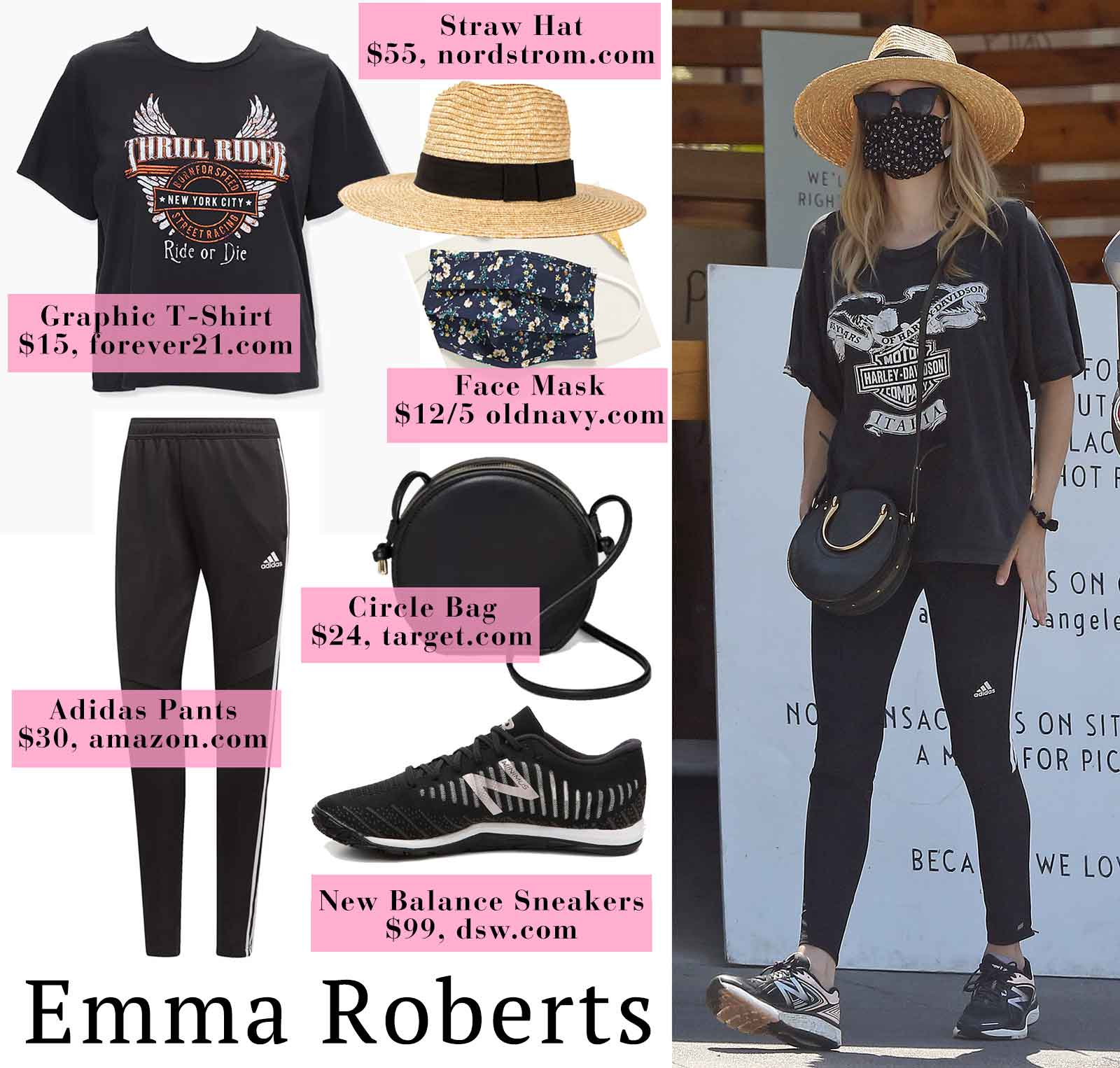 Photo of Emma Roberts Harley Davidson Shirt and New Balance Sneakers