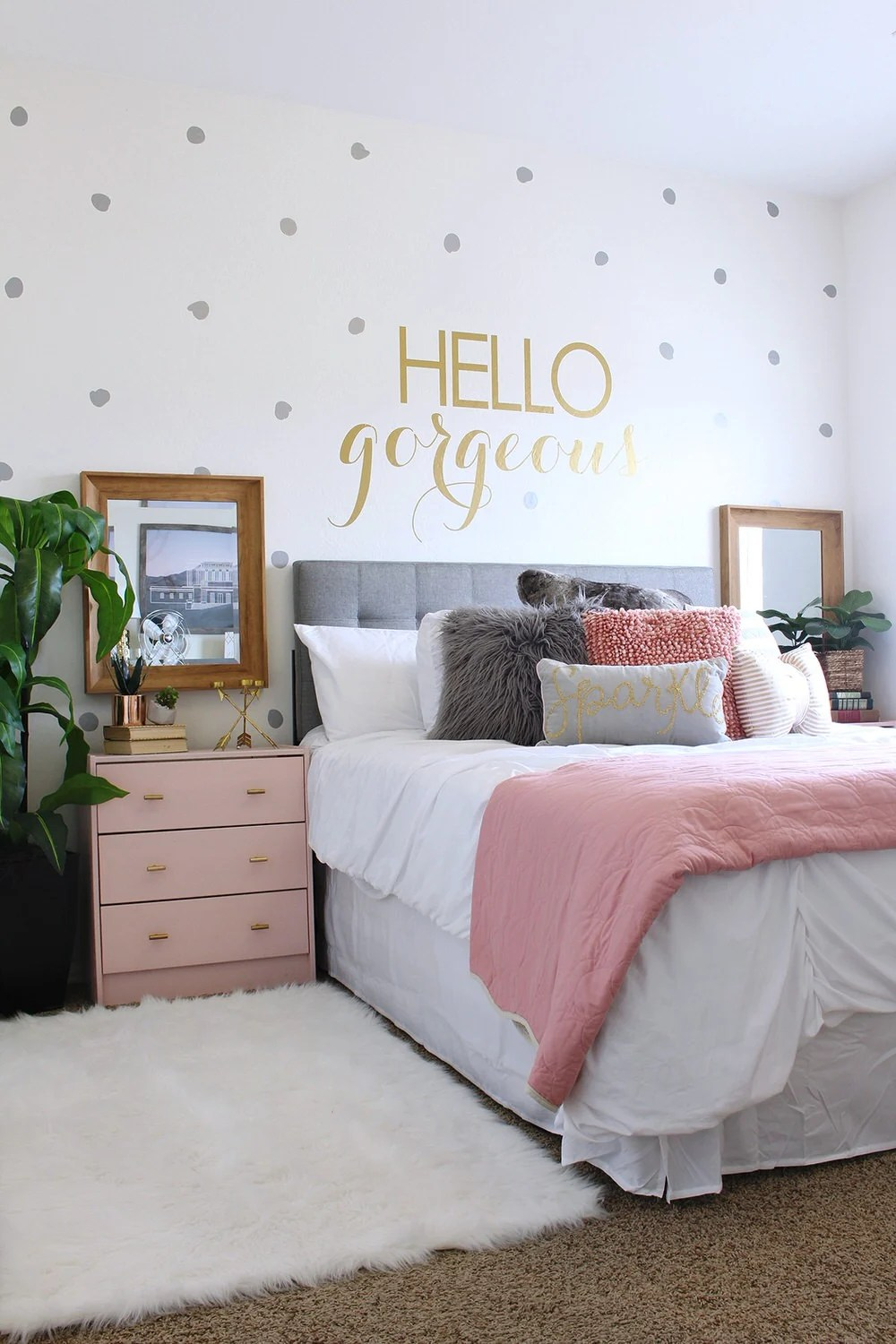 They Added Color In Pillows And Painted An Inexpensive Ikea Nightstands This Soft Pink They Purchased Their Headboard But You Can Learn To Make An