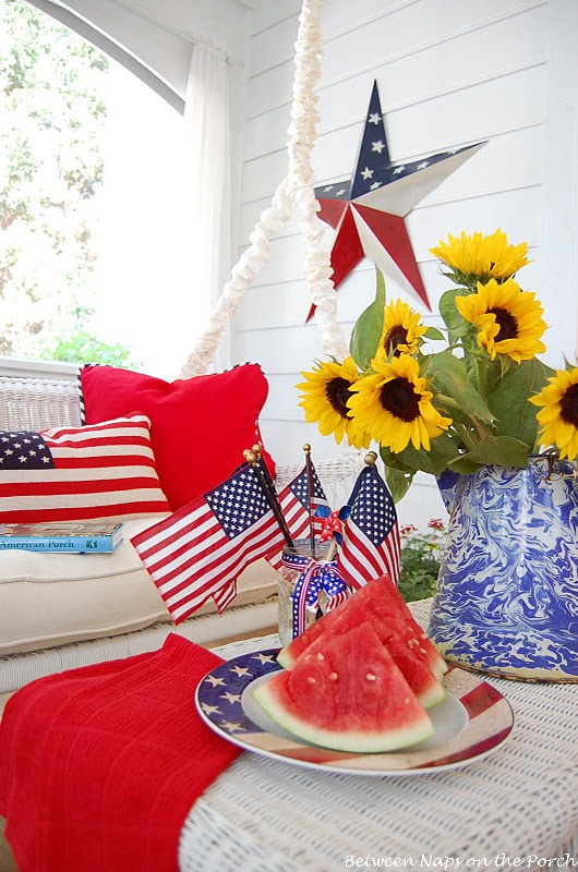 cheap chair cushions outdoor plastic cover front porch & 4th of july decorating ideas • the budget decorator