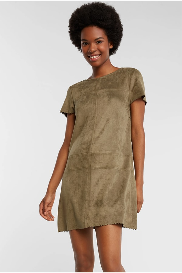Faux suede dress in a Haverdash subscription style box