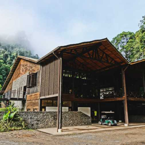 Exploring Borneo Island borneo rainforest lodge exterior