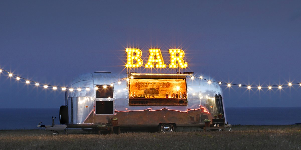 Unique Dry Hire Airstream Mobile Bar for Brand Promotion