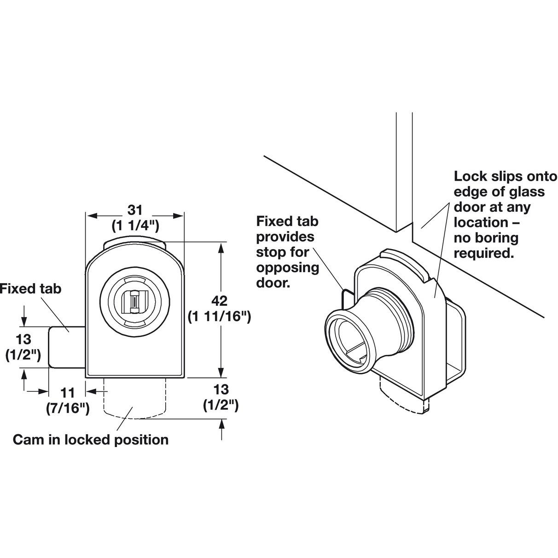 Hafele 233 18 730 Glass Door Lock Non Bore Vertical
