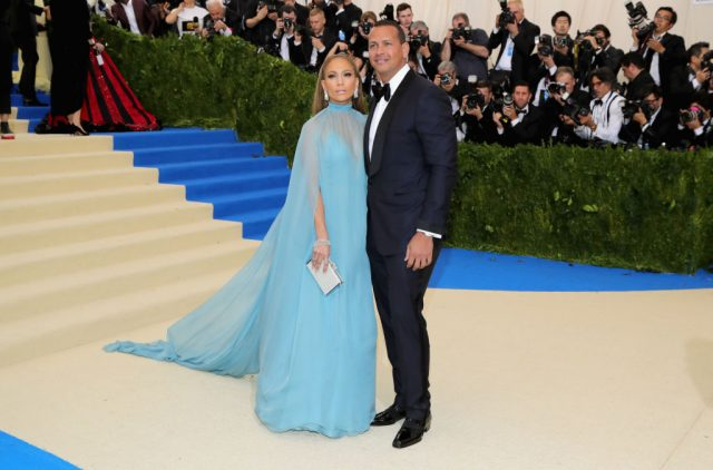 Jennifer Lopez and Alex Rodriguez attend the Costume Institute Gala on May 1, 2017